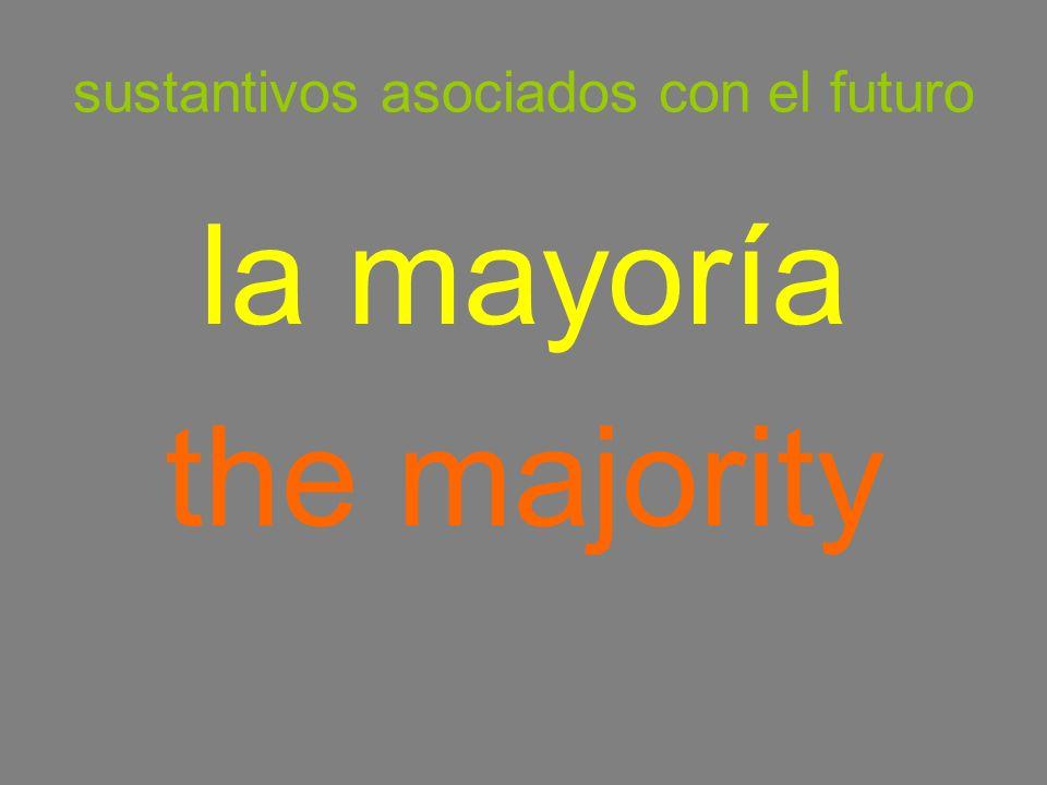 sustantivos asociados con el futuro la mayoría the majority