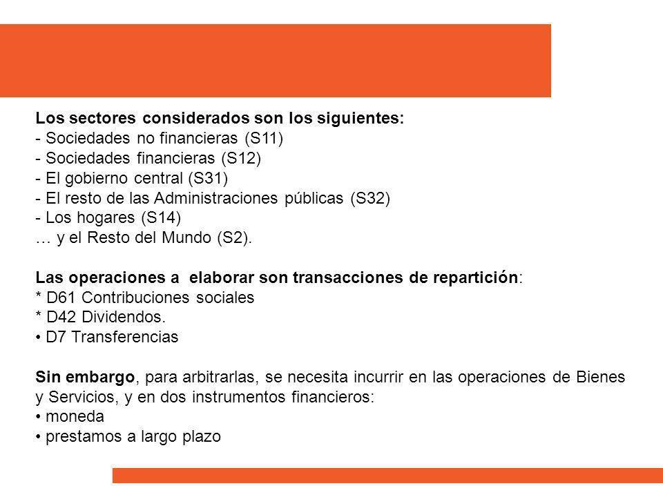 Los sectores considerados son los siguientes: - Sociedades no financieras (S11) - Sociedades financieras (S12) - El gobierno central (S31) - El resto de las Administraciones públicas (S32) - Los hogares (S14) … y el Resto del Mundo (S2).