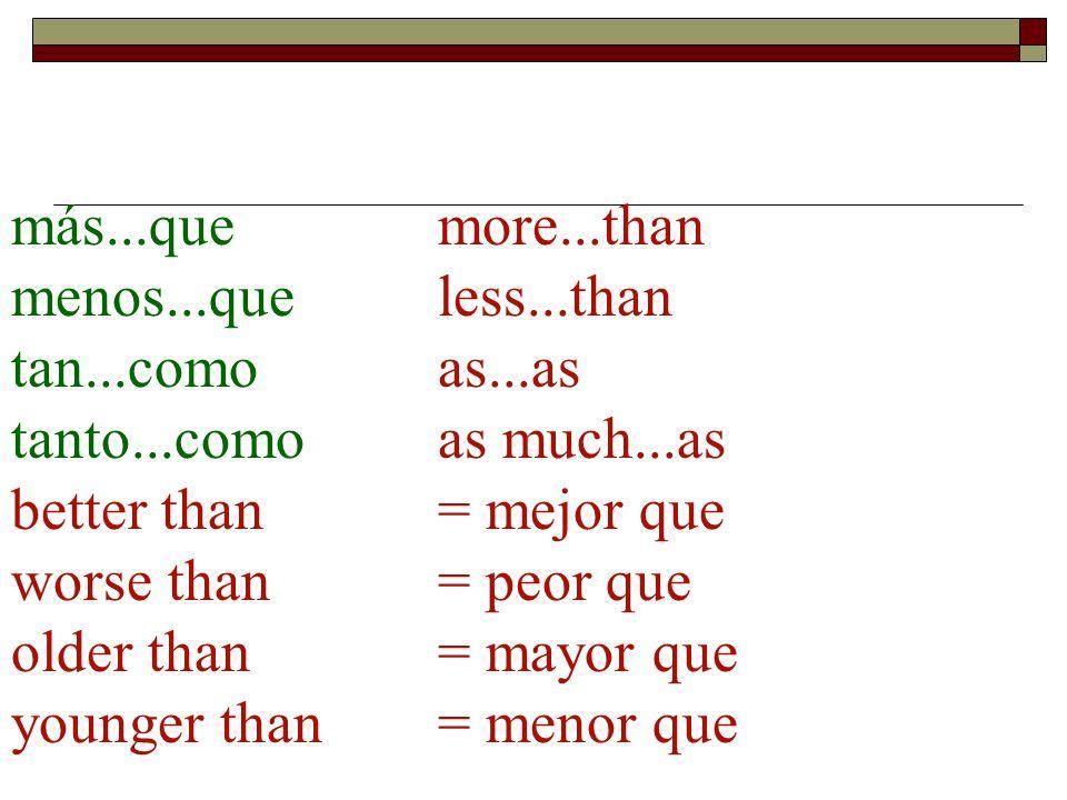 más...quemore...than menos...queless...than tan...comoas...as tanto...comoas much...as better than = mejor que worse than = peor que older than = mayo