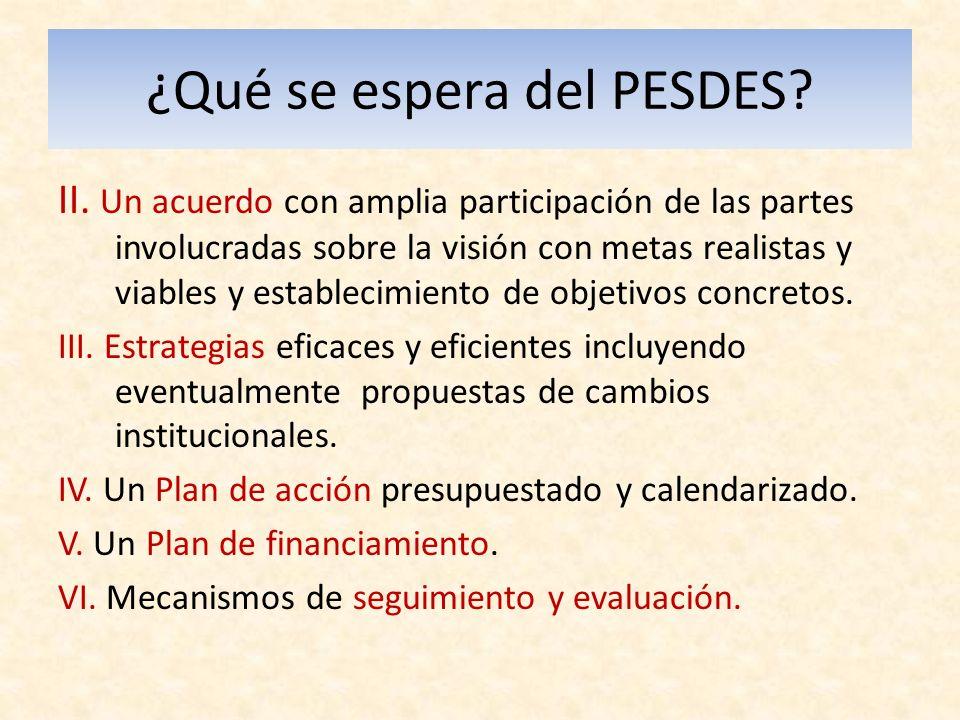 ¿Qué se espera del PESDES. II.