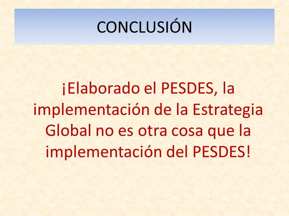 CONCLUSIÓN ¡Elaborado el PESDES, la implementación de la Estrategia Global no es otra cosa que la implementación del PESDES!