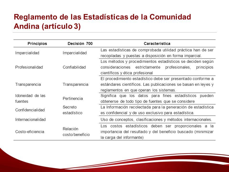 Reglamento de las Estadísticas de la Comunidad Andina (artículo 3) PrincipiosDecisión 700Característica Imparcialidad Las estadísticas de comprobada utilidad práctica han de ser recopiladas y puestas a disposición en forma imparcial.