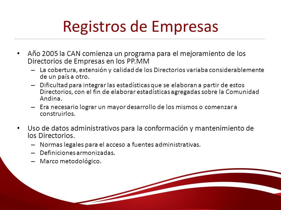 Registros de Empresas Año 2005 la CAN comienza un programa para el mejoramiento de los Directorios de Empresas en los PP.MM – La cobertura, extensión
