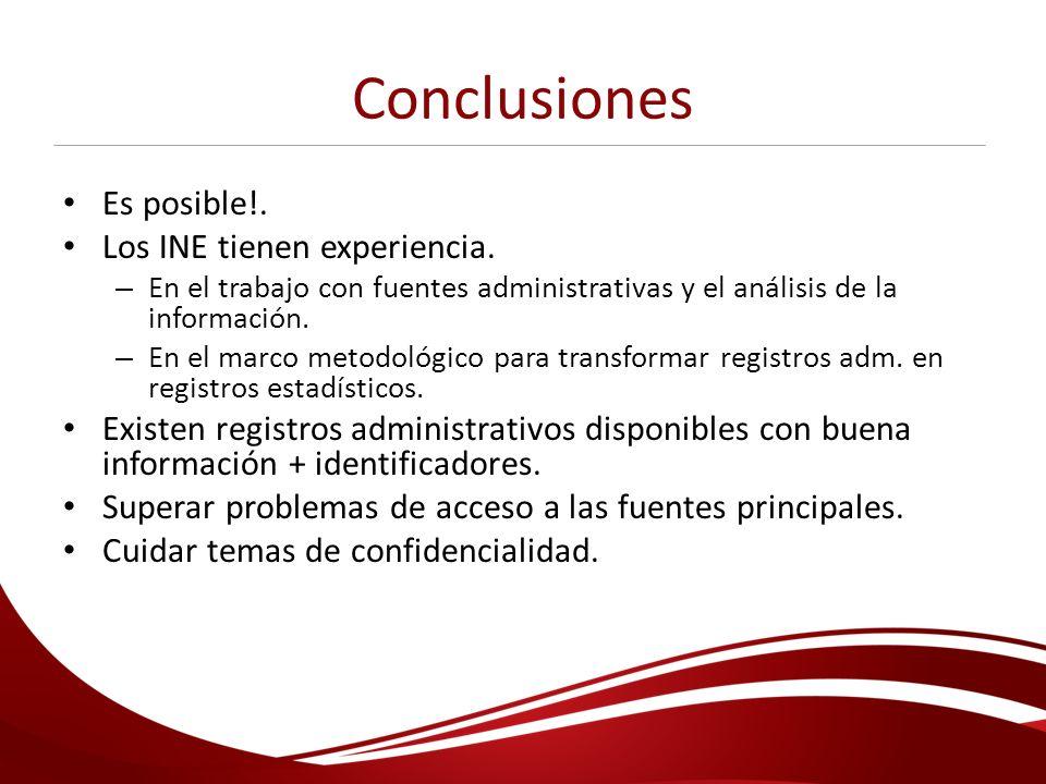 Conclusiones Es posible!. Los INE tienen experiencia. – En el trabajo con fuentes administrativas y el análisis de la información. – En el marco metod