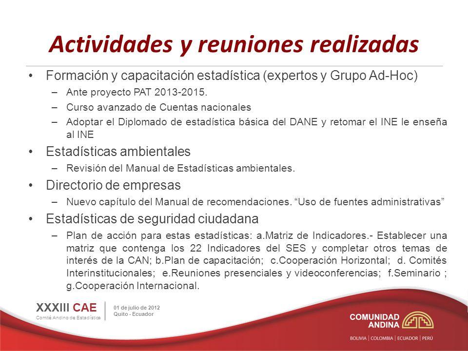 Actividades y reuniones realizadas Formación y capacitación estadística (expertos y Grupo Ad-Hoc) –Ante proyecto PAT 2013-2015.
