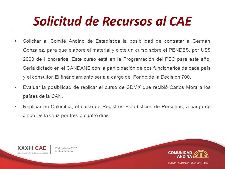 Solicitud de Recursos al CAE Solicitar al Comité Andino de Estadística la posibilidad de contratar a Germán González, para que elabore el material y dicte un curso sobre el PENDES, por US$ 2000 de Honorarios.