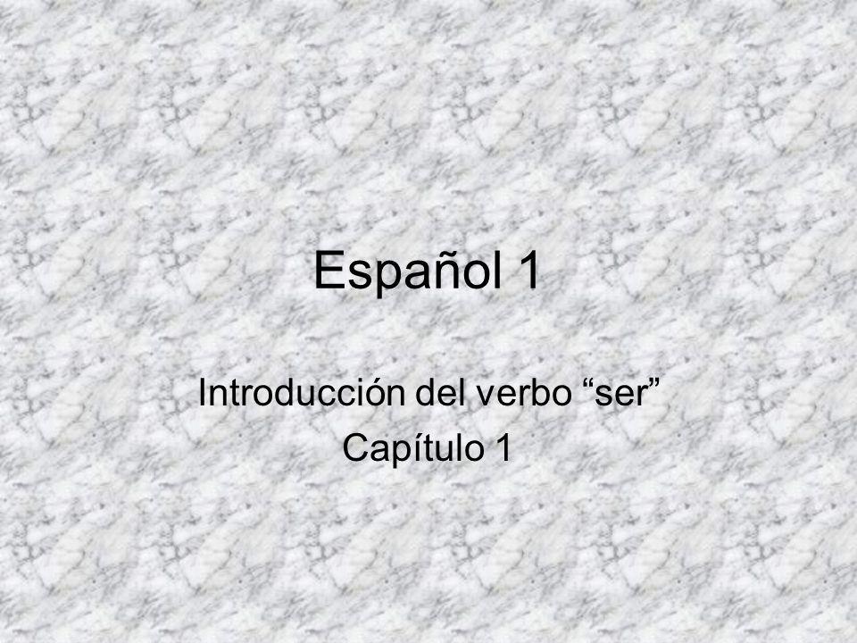 Español 1 Introducción del verbo ser Capítulo 1