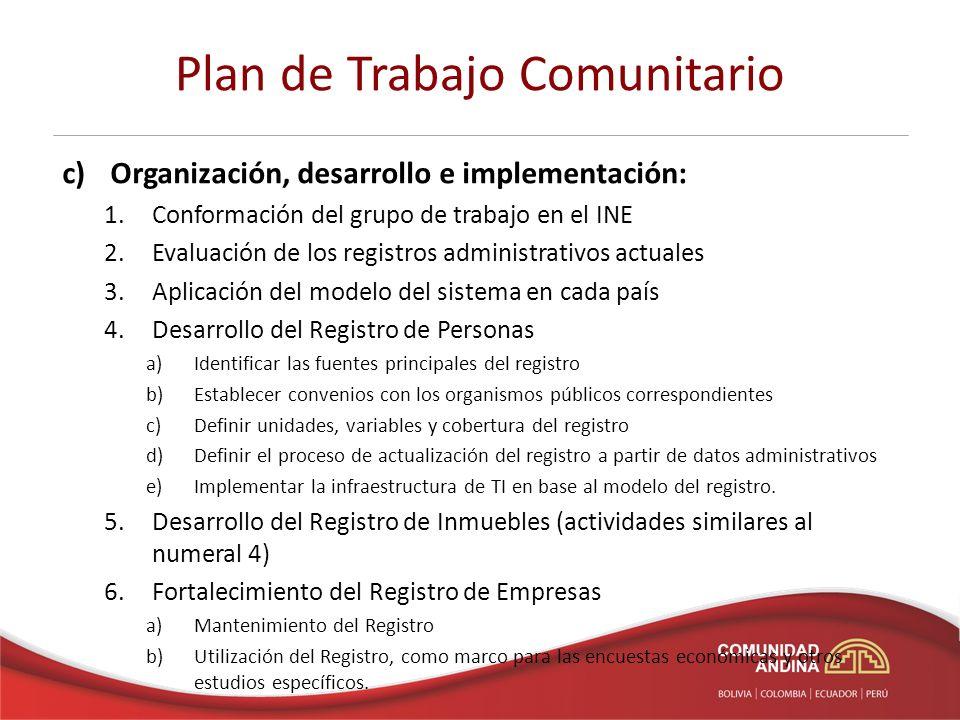 Plan de Trabajo Comunitario c)Formación y capacitación: 1.Réplica del Curso de La Paz 2.Talleres para consensuar los procedimientos y metodologías propuestas para elaborar los registros básicos.
