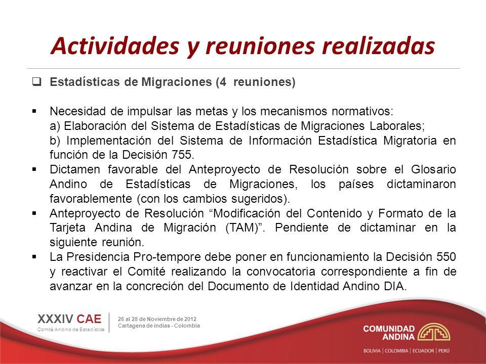 Actividades y reuniones realizadas Estadísticas de Migraciones (4 reuniones) Necesidad de impulsar las metas y los mecanismos normativos: a) Elaboraci