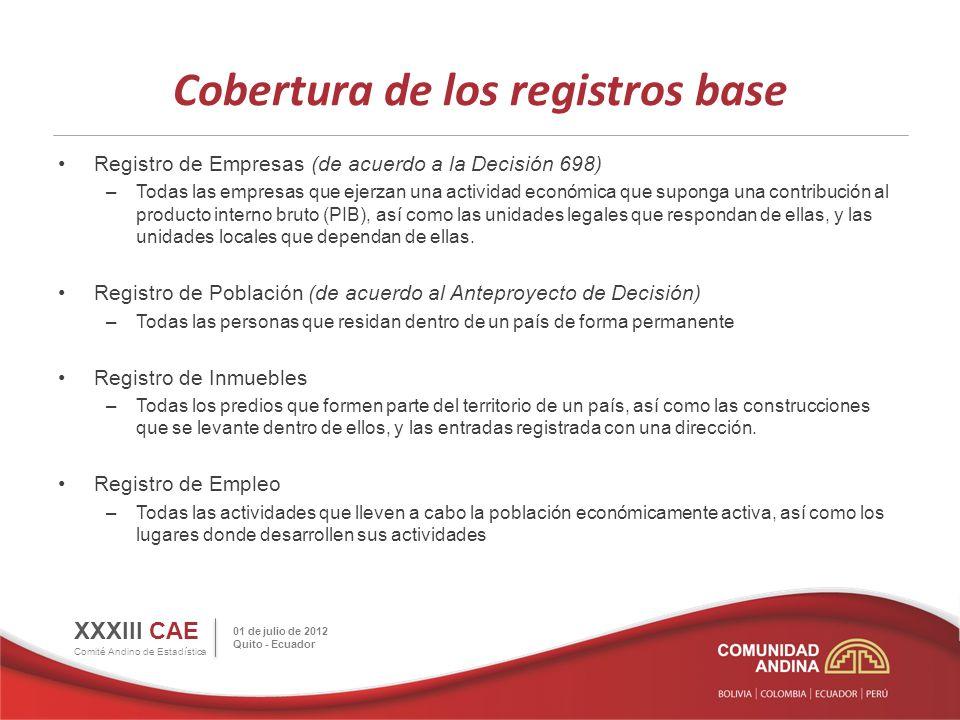 Cobertura de los registros base Registro de Empresas (de acuerdo a la Decisión 698) –Todas las empresas que ejerzan una actividad económica que supong