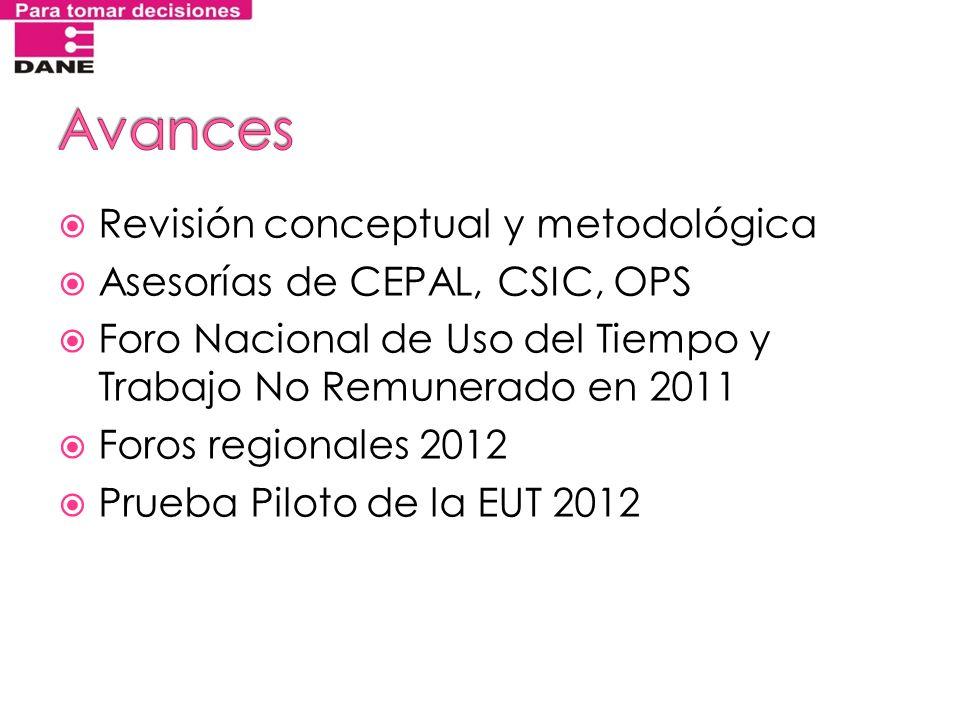 Revisión conceptual y metodológica Asesorías de CEPAL, CSIC, OPS Foro Nacional de Uso del Tiempo y Trabajo No Remunerado en 2011 Foros regionales 2012