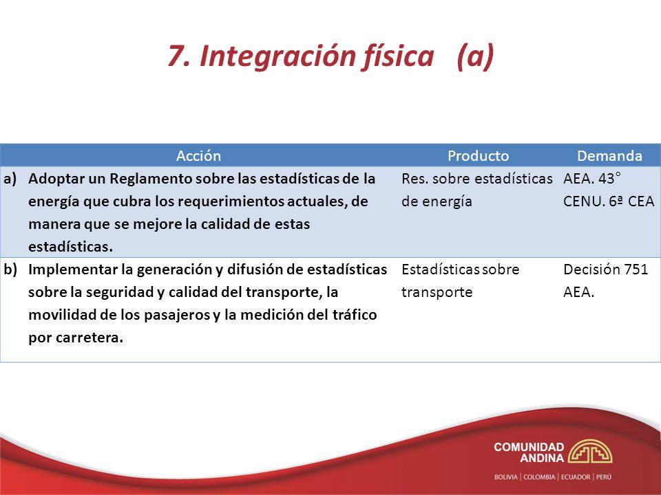 7. Integración física (a) AcciónProductoDemanda a)Adoptar un Reglamento sobre las estadísticas de la energía que cubra los requerimientos actuales, de