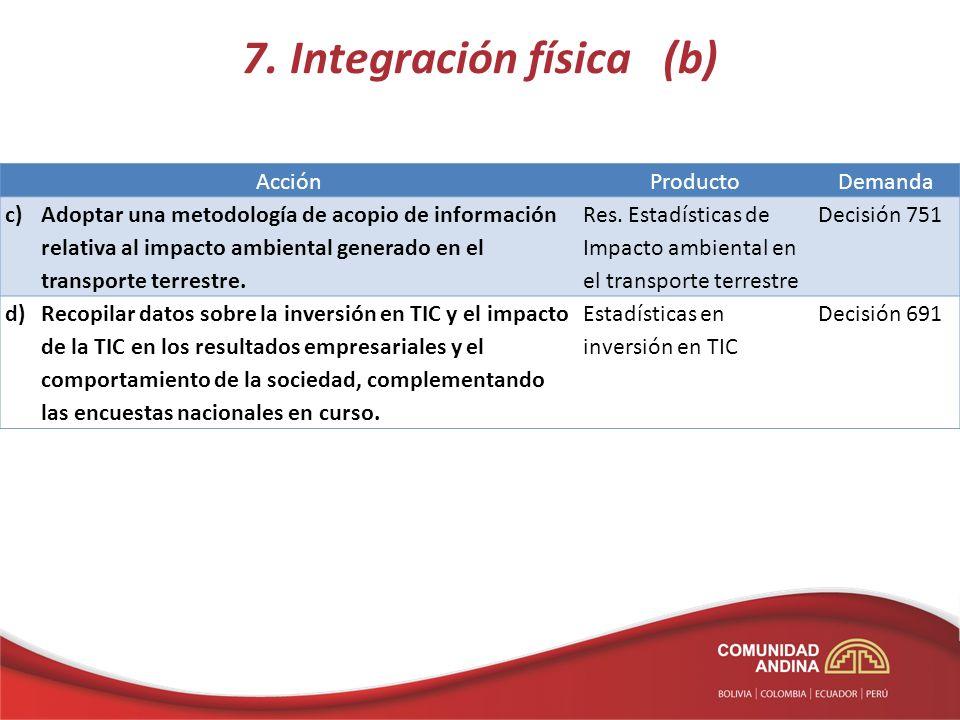 7. Integración física (b) AcciónProductoDemanda c)Adoptar una metodología de acopio de información relativa al impacto ambiental generado en el transp