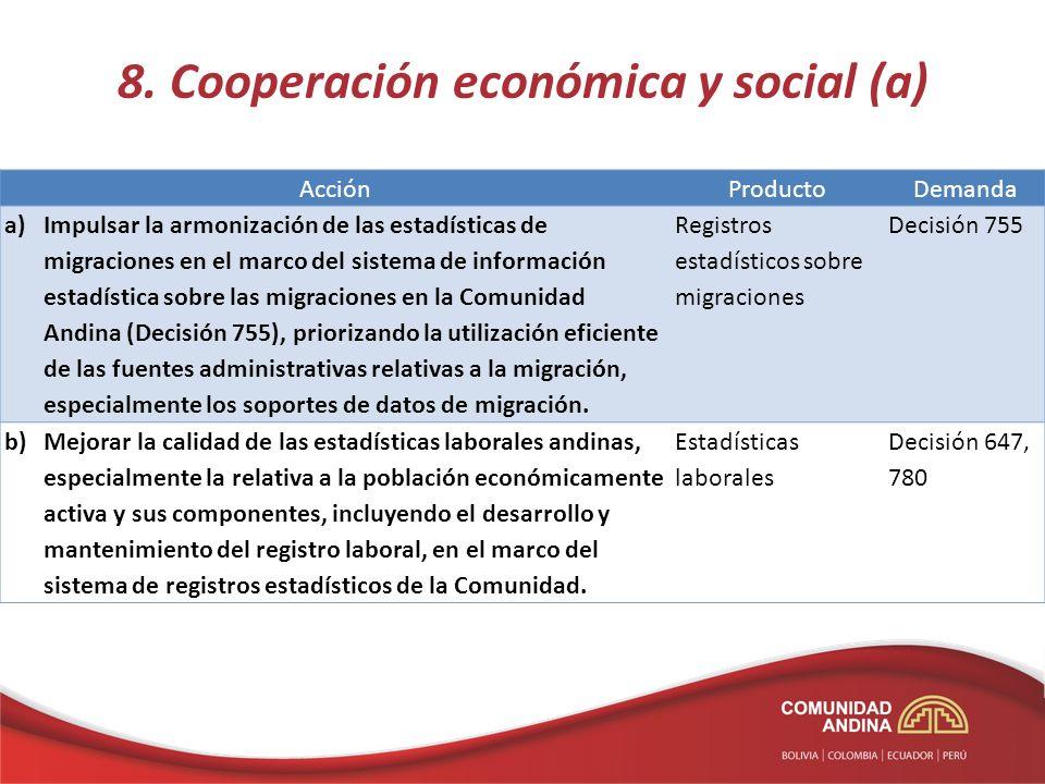 8. Cooperación económica y social (a) AcciónProductoDemanda a)Impulsar la armonización de las estadísticas de migraciones en el marco del sistema de i