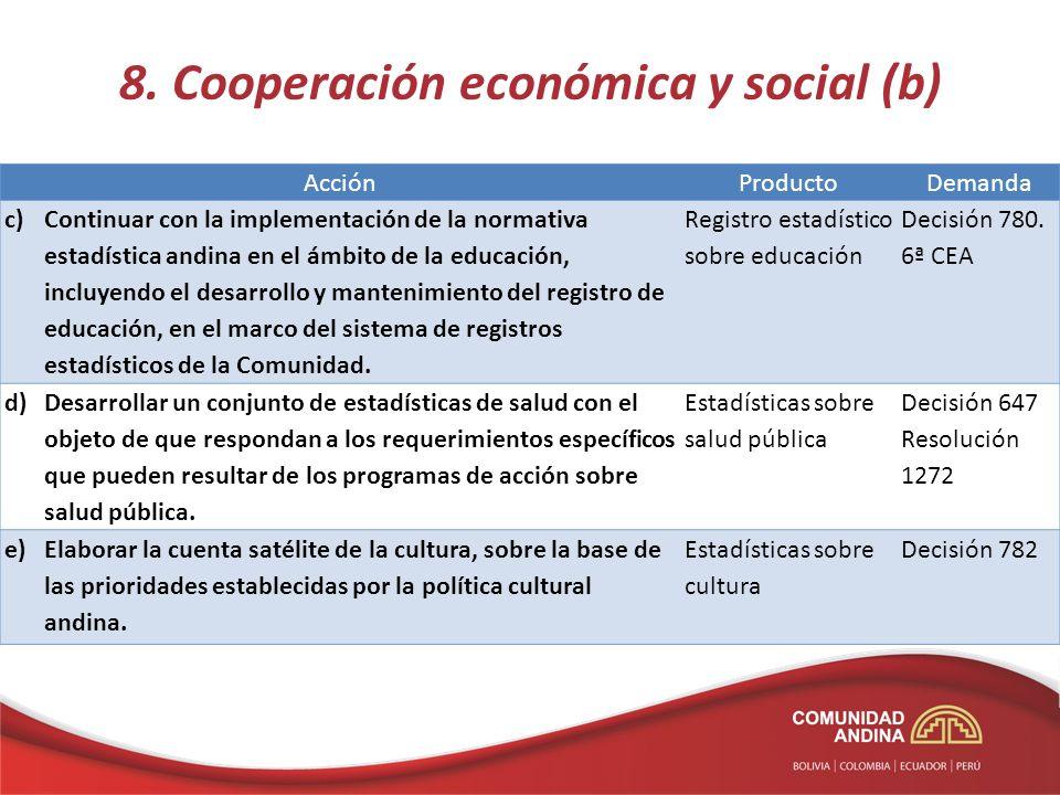 8. Cooperación económica y social (b) AcciónProductoDemanda c)Continuar con la implementación de la normativa estadística andina en el ámbito de la ed