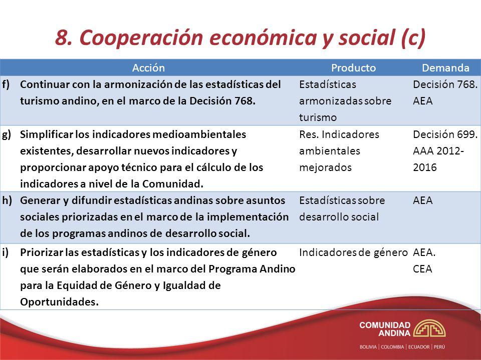 8. Cooperación económica y social (c) AcciónProductoDemanda f)Continuar con la armonización de las estadísticas del turismo andino, en el marco de la
