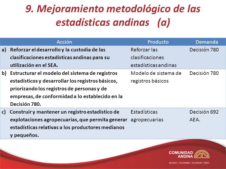 9. Mejoramiento metodológico de las estadísticas andinas (a) AcciónProductoDemanda a)Reforzar el desarrollo y la custodia de las clasificaciones estad