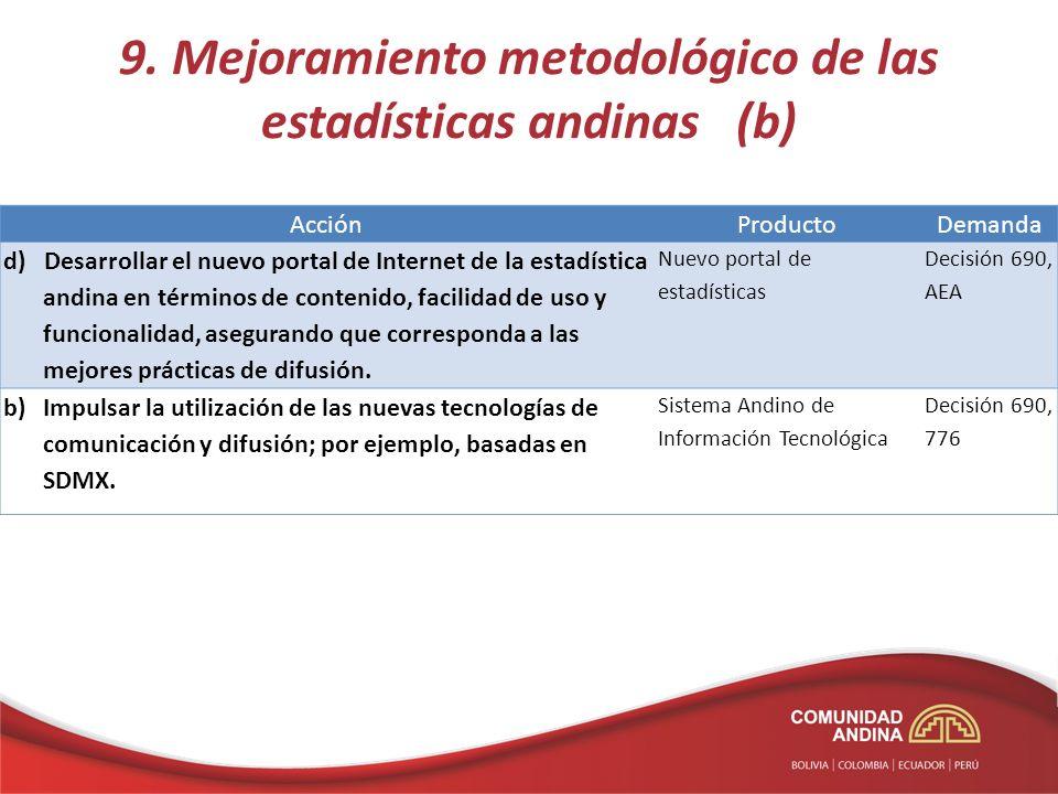 AcciónProductoDemanda d) Desarrollar el nuevo portal de Internet de la estadística andina en términos de contenido, facilidad de uso y funcionalidad, asegurando que corresponda a las mejores prácticas de difusión.