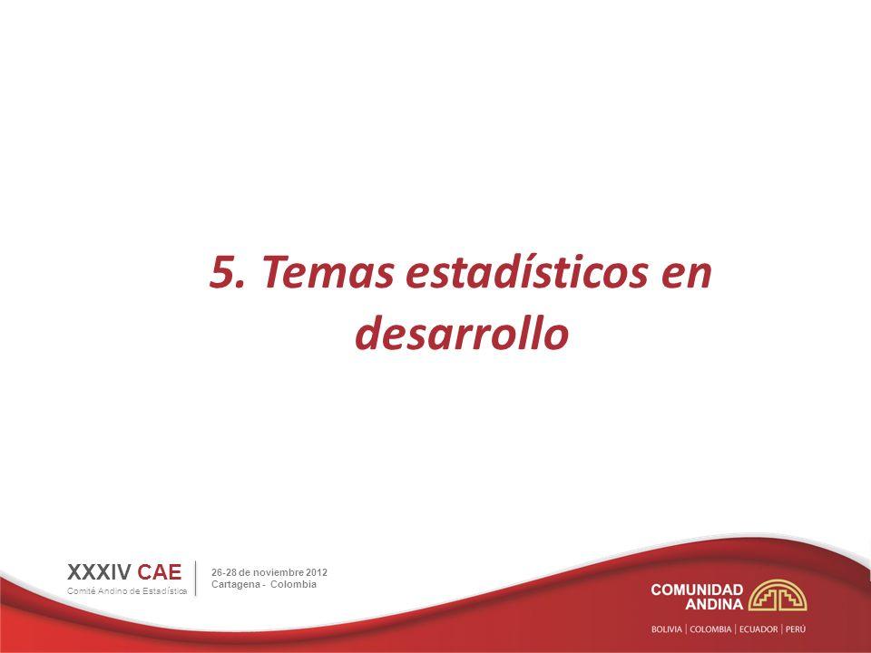 5. Temas estadísticos en desarrollo XXXIV CAE Comité Andino de Estadística 26-28 de noviembre 2012 Cartagena - Colombia