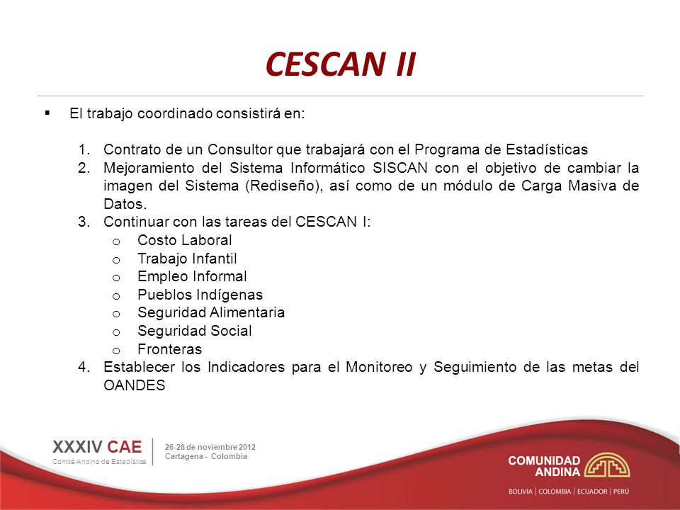 CESCAN II XXXIV CAE Comité Andino de Estadística 26-28 de noviembre 2012 Cartagena - Colombia El trabajo coordinado consistirá en: 1.Contrato de un Consultor que trabajará con el Programa de Estadísticas 2.Mejoramiento del Sistema Informático SISCAN con el objetivo de cambiar la imagen del Sistema (Rediseño), así como de un módulo de Carga Masiva de Datos.
