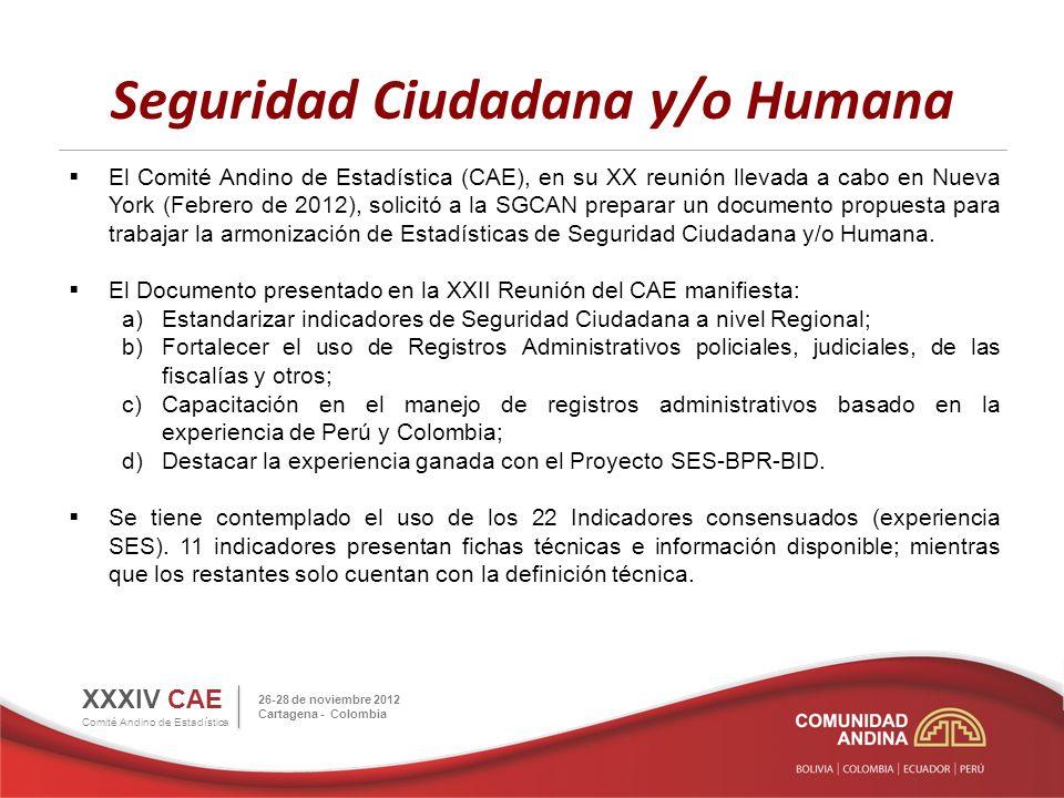 Seguridad Ciudadana y/o Humana XXXIV CAE Comité Andino de Estadística 26-28 de noviembre 2012 Cartagena - Colombia Estos 22 indicadores serán evaluados por el grupo de expertos con la finalidad de elegir o proponer nuevos indicadores acordes a la Agenda Estratégica Andina.