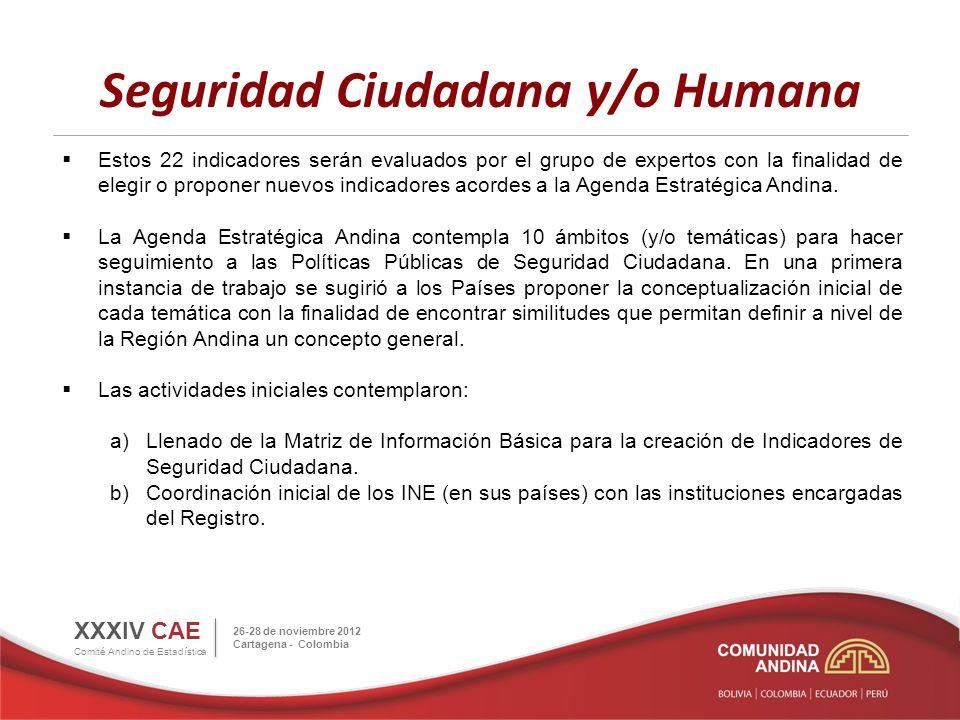 Seguridad Ciudadana y/o Humana XXXIV CAE Comité Andino de Estadística 26-28 de noviembre 2012 Cartagena - Colombia