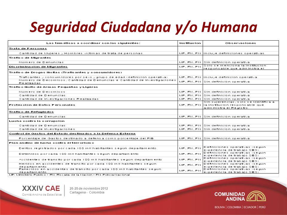 Seguridad Ciudadana y/o Humana XXXIV CAE Comité Andino de Estadística 26-28 de noviembre 2012 Cartagena - Colombia Actividades en Proceso de Desarrollo 1.Los INE remitirán a la SGCAN información resultado de las coordinaciones al interior de sus países.