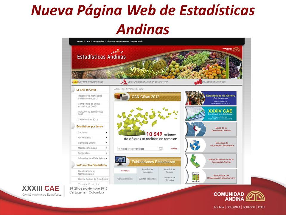 Nueva Página Web de Estadísticas Andinas XXXIII CAE Comité Andino de Estadística Portal de Estadísticas Andinas como resultado de los productos del Proyecto ANDESTAD.