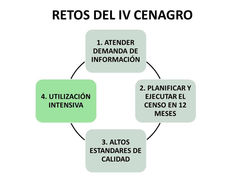 RETOS DEL IV CENAGRO 1. ATENDER DEMANDA DE INFORMACIÓN 2. PLANIFICAR Y EJECUTAR EL CENSO EN 12 MESES 3. ALTOS ESTANDARES DE CALIDAD 4. UTILIZACIÓN INT