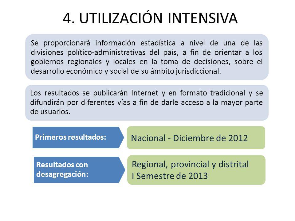 4. UTILIZACIÓN INTENSIVA Se proporcionará información estadística a nivel de una de las divisiones político-administrativas del país, a fin de orienta