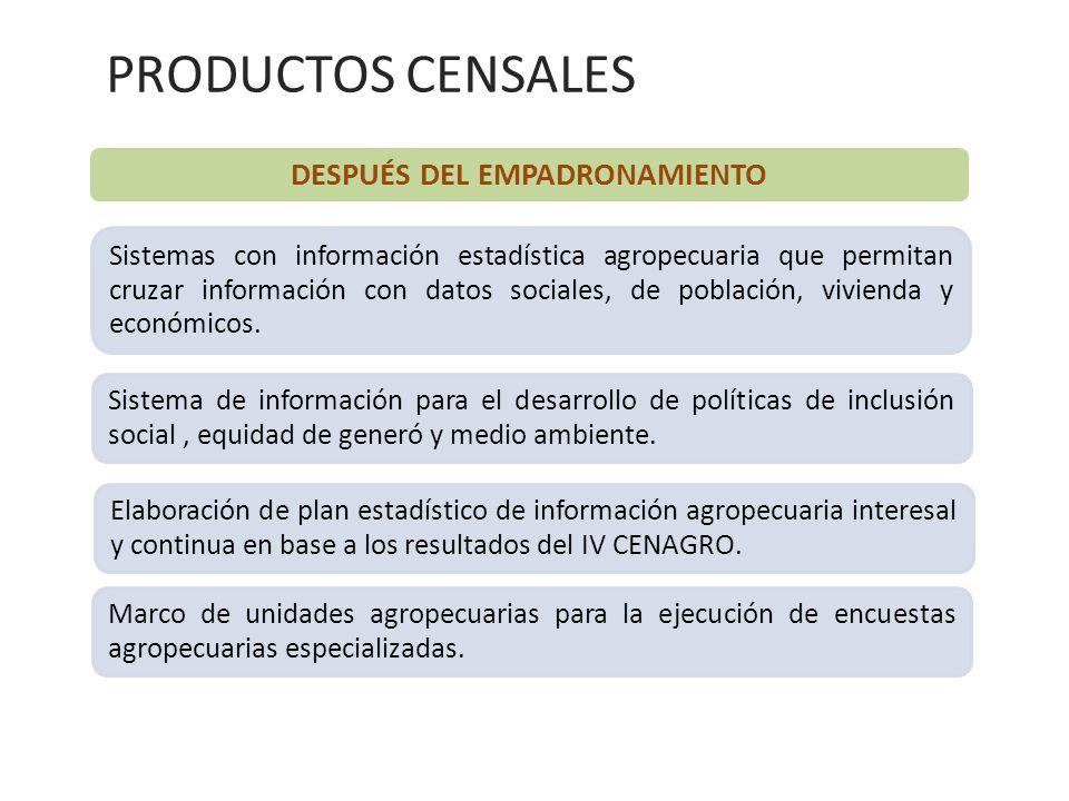 DESPUÉS DEL EMPADRONAMIENTO Sistemas con información estadística agropecuaria que permitan cruzar información con datos sociales, de población, vivien
