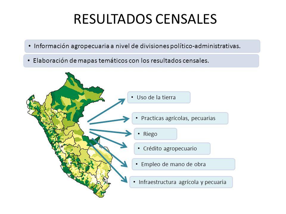 RESULTADOS CENSALES Información agropecuaria a nivel de divisiones político-administrativas. Elaboración de mapas temáticos con los resultados censale