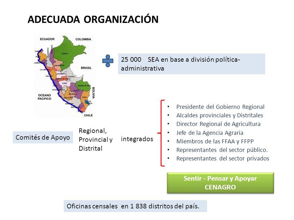 ADECUADA ORGANIZACIÓN 25 000 SEA en base a división política- administrativa Comités de Apoyo Regional, Provincial y Distrital integrados Presidente d
