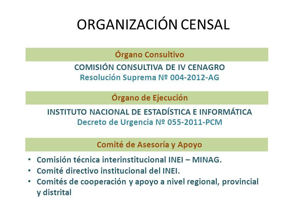ORGANIZACIÓN CENSAL COMISIÓN CONSULTIVA DE IV CENAGRO Resolución Suprema Nº 004-2012-AG Órgano Consultivo INSTITUTO NACIONAL DE ESTADÍSTICA E INFORMÁT