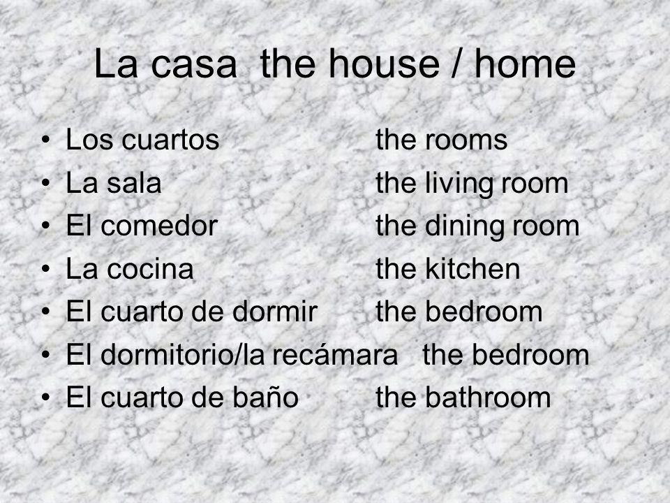La casa the house / home Los cuartosthe rooms La salathe living room El comedorthe dining room La cocinathe kitchen El cuarto de dormirthe bedroom El