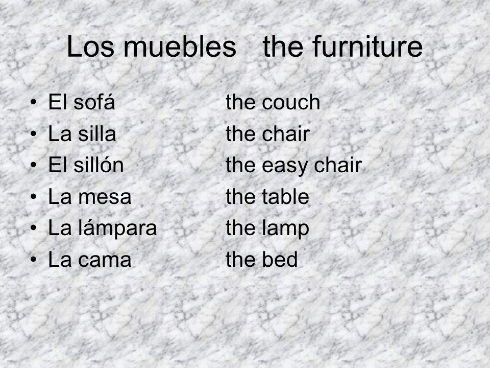 Los mueblesthe furniture El sofáthe couch La sillathe chair El sillónthe easy chair La mesathe table La lámparathe lamp La camathe bed