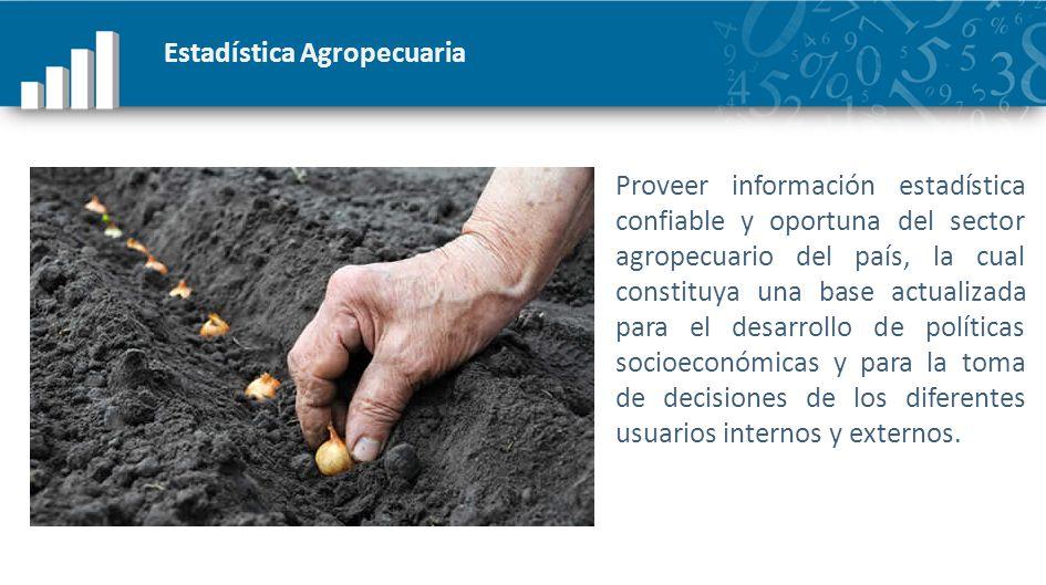 Estadística Agropecuaria Proveer información estadística confiable y oportuna del sector agropecuario del país, la cual constituya una base actualizad