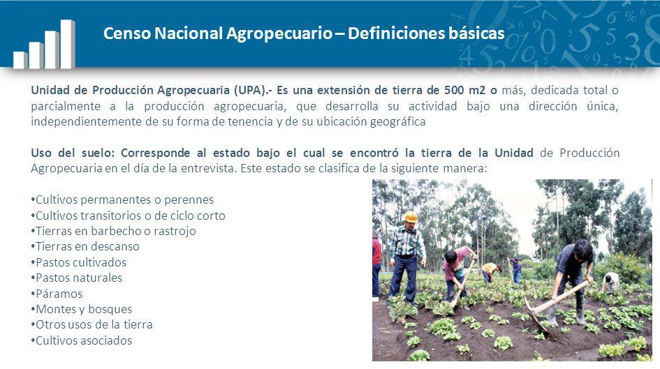 Censo Nacional Agropecuario – Definiciones básicas Unidad de Producción Agropecuaria (UPA).- Es una extensión de tierra de 500 m2 o más, dedicada tota