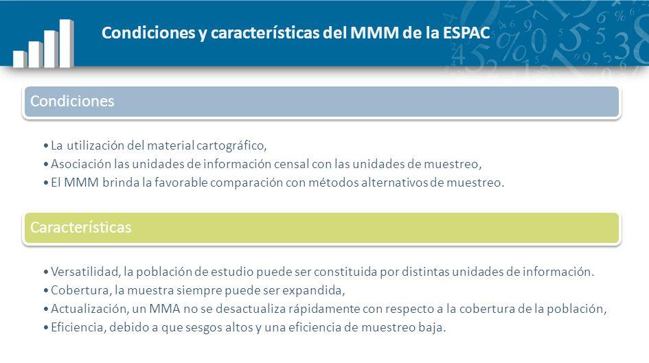Muestreo en dos fases para la ESPAC PRIMERA FASE: muestra GRANDE seleccionada del MA en el CNA SEGUNDA FASE: sub muestra PEQUEÑA escogida en la ESPAC de la muestra GRANDE del CNA MMA PRIMERA FASE: 100 % de las UPAs que perteneciendo al ML en el CNA, fueron incluidas en el ESPAC.