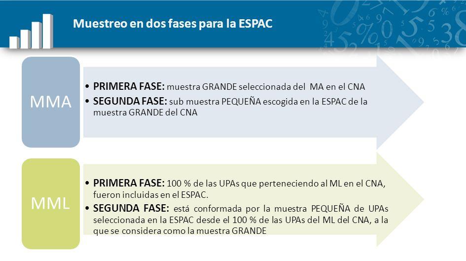 Muestreo en dos fases para la ESPAC PRIMERA FASE: muestra GRANDE seleccionada del MA en el CNA SEGUNDA FASE: sub muestra PEQUEÑA escogida en la ESPAC
