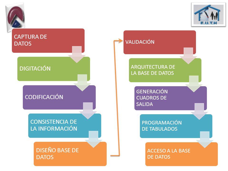 CAPTURA DE DATOS DIGITACIÓNCODIFICACIÓN CONSISTENCIA DE LA INFORMACIÓN DISEÑO BASE DE DATOS VALIDACIÓN ARQUITECTURA DE LA BASE DE DATOS GENERACIÓN CUA