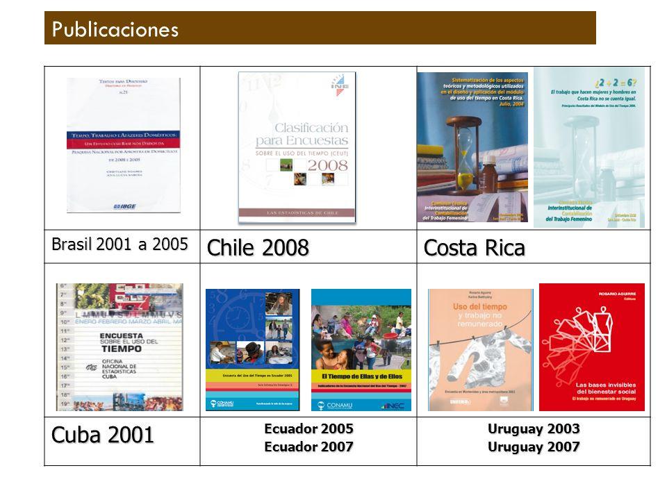 Publicaciones Brasil 2001 a 2005 Chile 2008 Costa Rica Cuba 2001 Ecuador 2005 Ecuador 2007 Uruguay 2003 Uruguay 2007