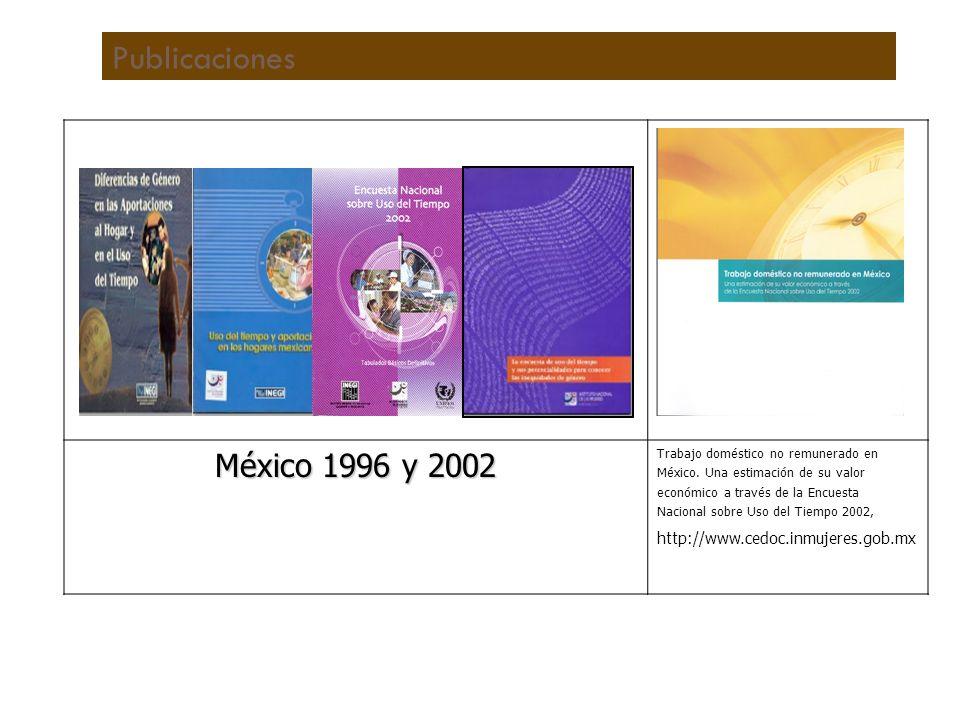Publicaciones México 1996 y 2002 Trabajo doméstico no remunerado en México.
