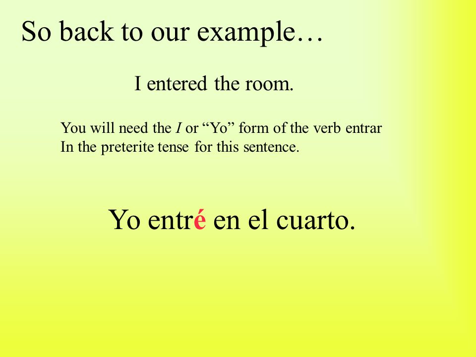 Now we can add these endings to the stem of the verb entrar.
