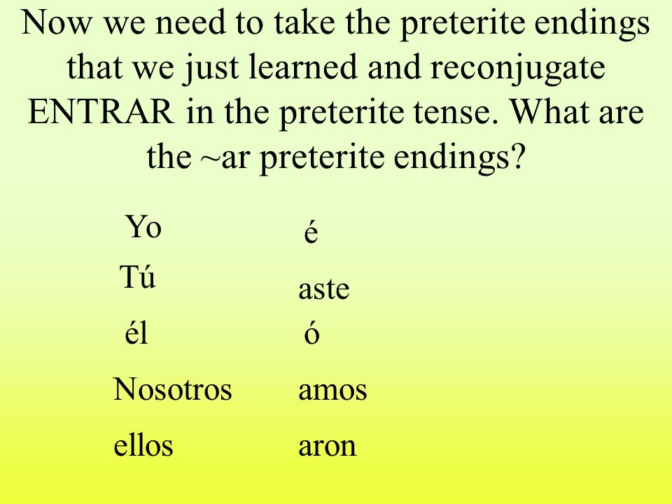 The verb Entrar means: to Enter You already know how to conjugate regular ~ar verbs in Spanish in the present tense.