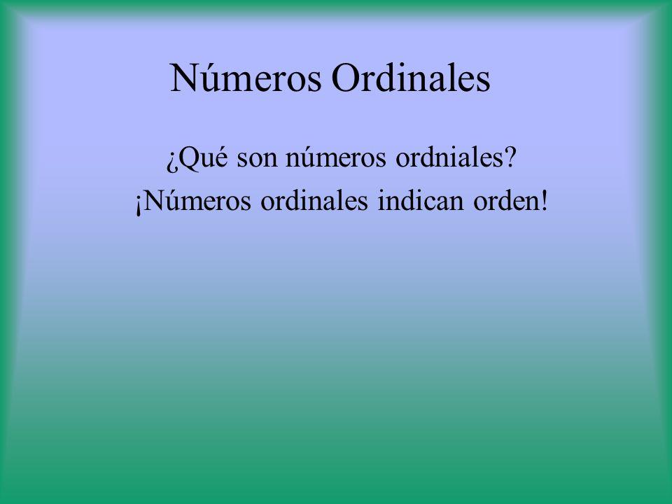 Números Ordinales ¿Qué son números ordniales? ¡Números ordinales indican orden!