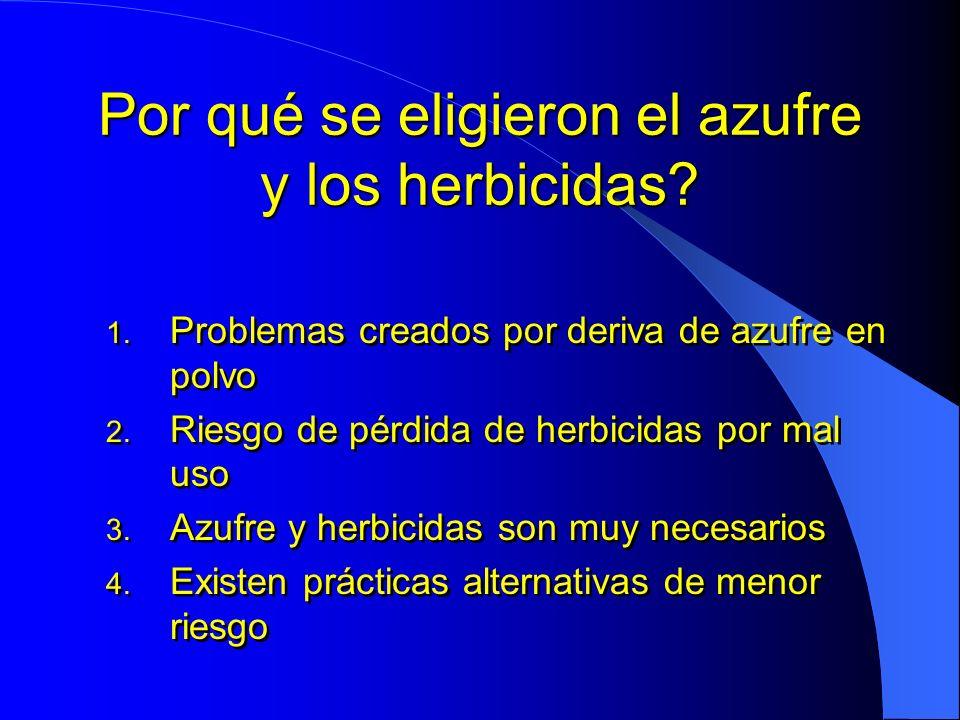 Por qué se eligieron el azufre y los herbicidas? 1. Problemas creados por deriva de azufre en polvo 2. Riesgo de pérdida de herbicidas por mal uso 3.