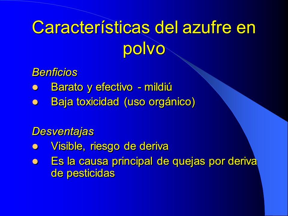 Características del azufre en polvo Benficios Barato y efectivo - mildiú Baja toxicidad (uso orgánico) Desventajas Visible, riesgo de deriva Es la cau