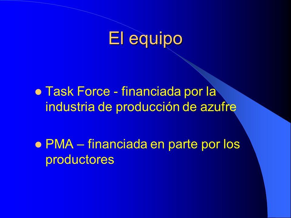 El equipo Task Force - financiada por la industria de producción de azufre PMA – financiada en parte por los productores