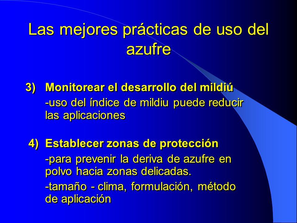 Las mejores prácticas de uso del azufre 3)Monitorear el desarrollo del mildiú -uso del índice de mildiu puede reducir las aplicaciones 4)Establecer zo